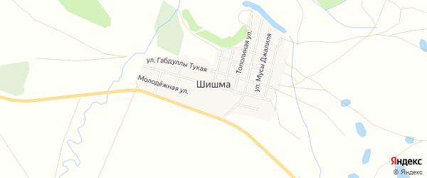 Карта села Шишма в Оренбургской области с улицами и номерами домов