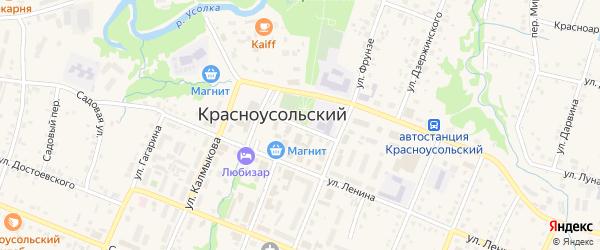 Больничный переулок на карте села Красноусольского с номерами домов