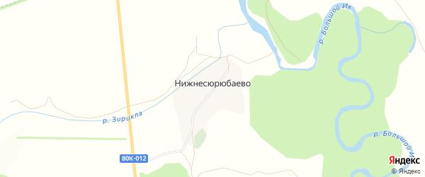 Карта деревни Нижнесюрюбаево в Башкортостане с улицами и номерами домов