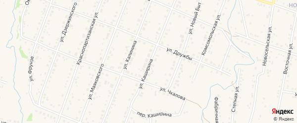 Улица Каширина на карте села Красноусольского Башкортостана с номерами домов