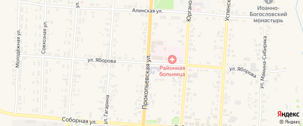 Улица Яборова на карте Чердыни с номерами домов