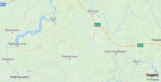 Карта Уинского района Пермского края с городами и населенными пунктами