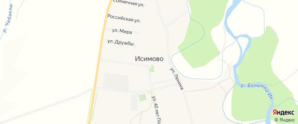 Карта села Исимово в Башкортостане с улицами и номерами домов