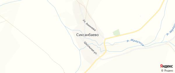 Карта деревни Сиксанбаево в Башкортостане с улицами и номерами домов