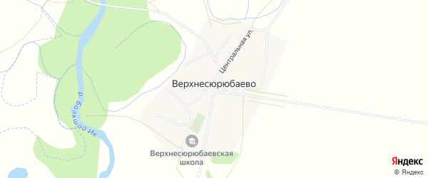 Карта деревни Верхнесюрюбаево в Башкортостане с улицами и номерами домов