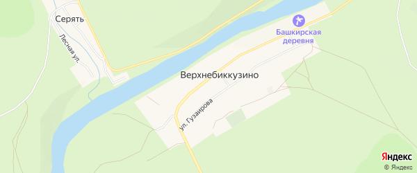 Карта деревни Верхнебиккузино в Башкортостане с улицами и номерами домов
