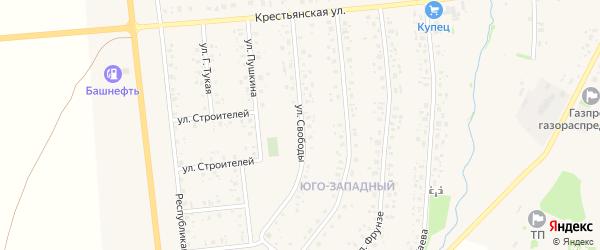 Улица Свободы на карте села Аскино Башкортостана с номерами домов