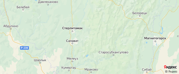Карта Ишимбайского района Республики Башкортостана с городами и населенными пунктами
