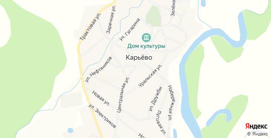 Карта села Карьево в Пермском крае с улицами, домами и почтовыми отделениями со спутника онлайн