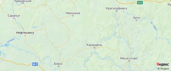 Карта Аскинского района Республики Башкортостана с городами и населенными пунктами