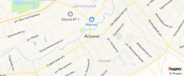 Карта села Аскино в Башкортостане с улицами и номерами домов