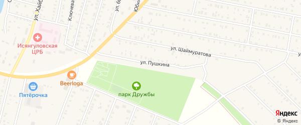Улица Пушкина на карте села Исянгулово с номерами домов