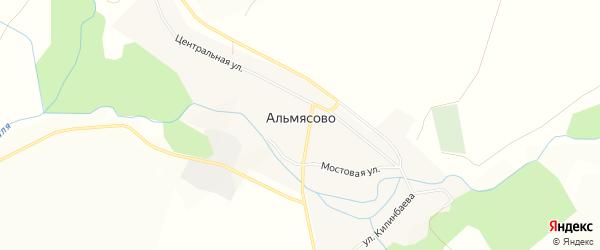 Карта деревни Альмясово в Башкортостане с улицами и номерами домов