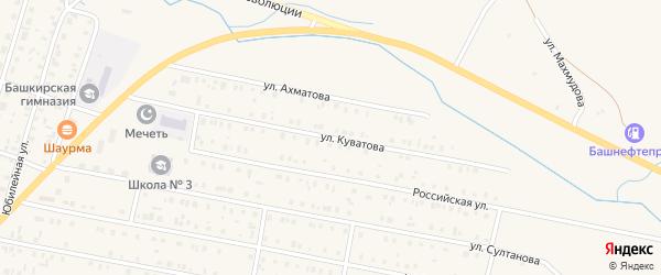 Улица Куватова на карте села Исянгулово с номерами домов