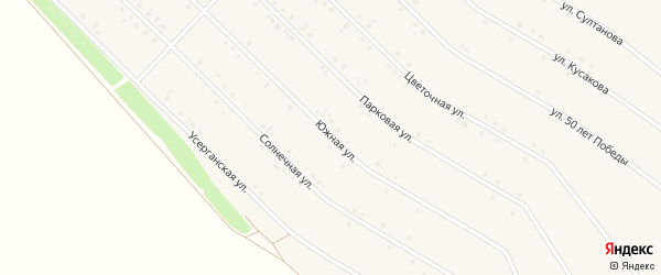 Южная улица на карте села Исянгулово с номерами домов