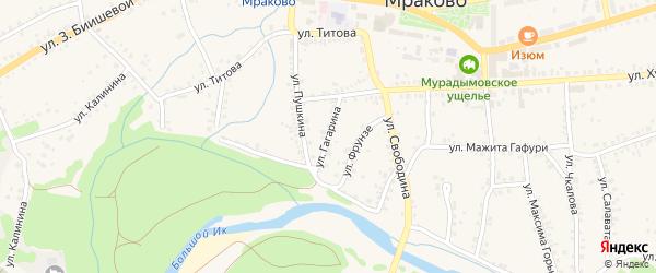 Улица Гагарина на карте села Мраково с номерами домов