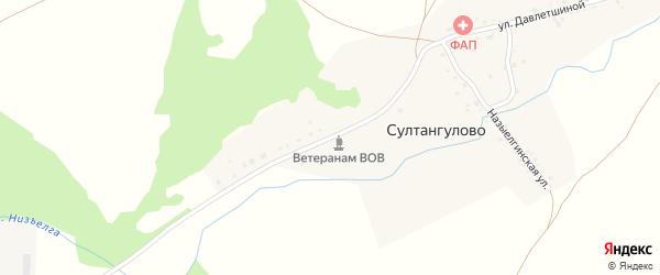 Молодежная улица на карте деревни Султангулово Башкортостана с номерами домов