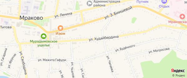 Улица Худайбердина на карте села Мраково с номерами домов