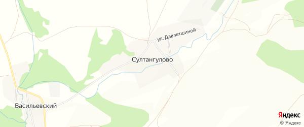 Карта деревни Султангулово в Башкортостане с улицами и номерами домов