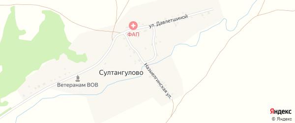 Назыелгинская улица на карте деревни Султангулово Башкортостана с номерами домов