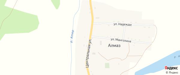 Центральная улица на карте села Алмаза Пермского края с номерами домов