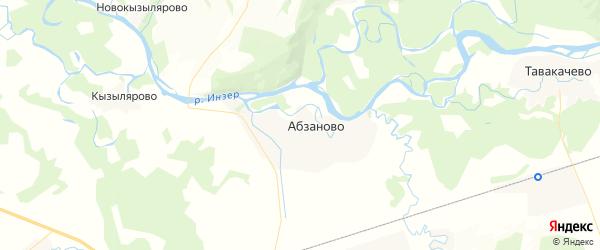Карта Абзановского сельсовета Республики Башкортостана с районами, улицами и номерами домов
