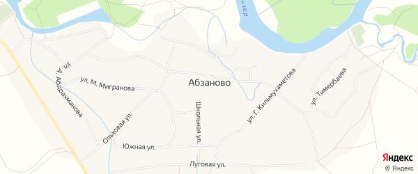 Карта села Абзаново в Башкортостане с улицами и номерами домов