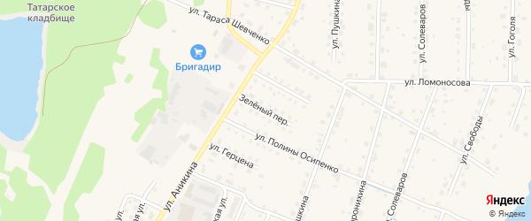 Зеленый переулок на карте Усолья с номерами домов