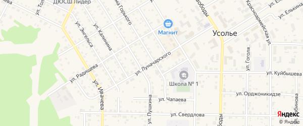 Улица Луначарского на карте Усолья с номерами домов