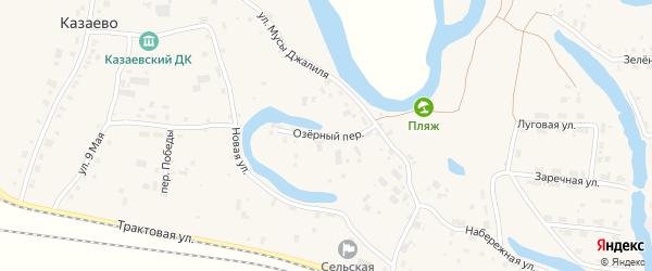 Озерный переулок на карте деревни Казаево Пермского края с номерами домов