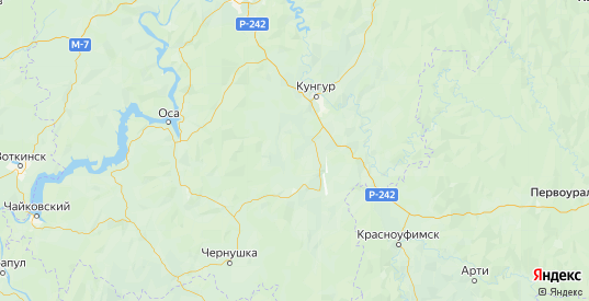 Карта Ординского района Пермского края с городами и населенными пунктами