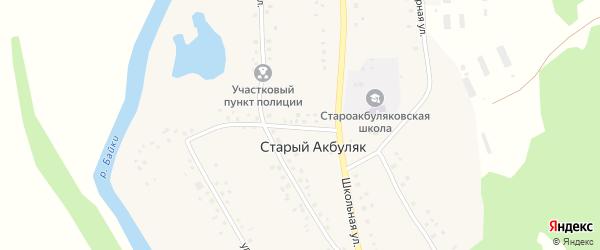 Горная улица на карте деревни Старого Акбуляка с номерами домов
