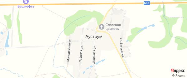 Карта села Ауструма в Башкортостане с улицами и номерами домов