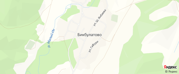 Карта деревни Бикбулатово в Башкортостане с улицами и номерами домов