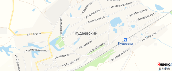 Карта села Кудеевского в Башкортостане с улицами и номерами домов