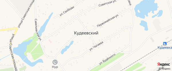 Первомайский переулок на карте села Кудеевского Башкортостана с номерами домов