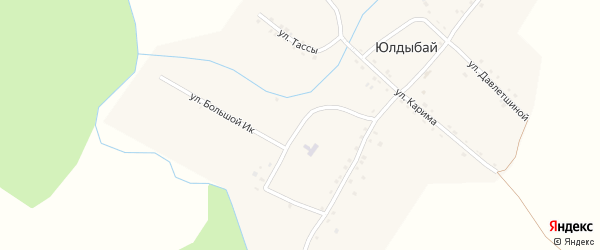 Улица Большой Ик на карте деревни Юлдыбая с номерами домов
