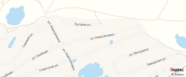 Улица Новоселовка на карте села Кудеевского Башкортостана с номерами домов