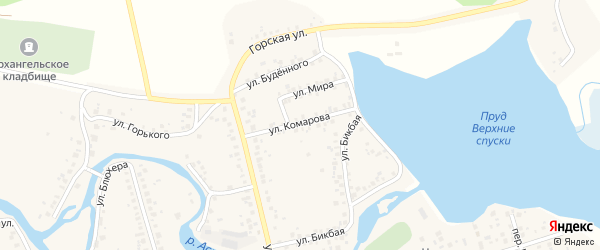 Улица Комарова на карте Архангельского села Башкортостана с номерами домов