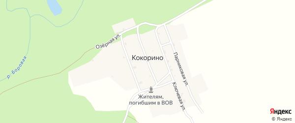 Озерная улица на карте деревни Кокорино Пермского края с номерами домов