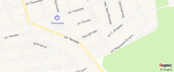 Лесной переулок на карте Архангельского села Башкортостана с номерами домов