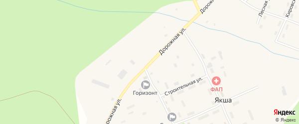 Дорожная улица на карте поселка Якши Коми с номерами домов