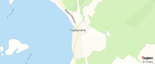 Карта деревни Горбунят в Пермском крае с улицами и номерами домов