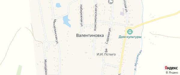 Запрудная улица на карте села Валентиновки с номерами домов