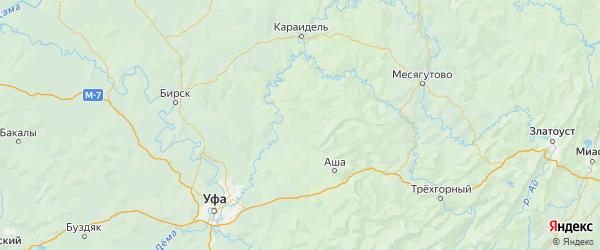 Карта Нуримановского района Республики Башкортостана с городами и населенными пунктами