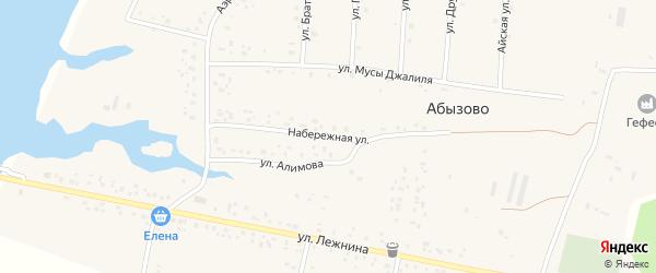 Набережная улица на карте села Абызово Башкортостана с номерами домов