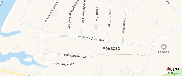 Улица Мусы Джалиля на карте села Абызово Башкортостана с номерами домов