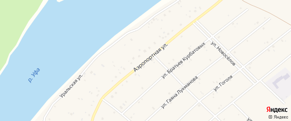 Аэропортная улица на карте села Абызово Башкортостана с номерами домов