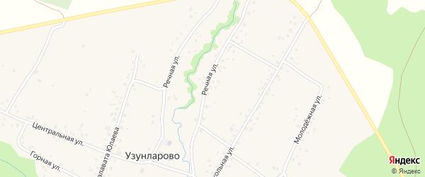 Речная улица на карте села Узунларово Башкортостана с номерами домов