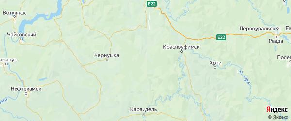 Карта Октябрьского района Пермского края с городами и населенными пунктами